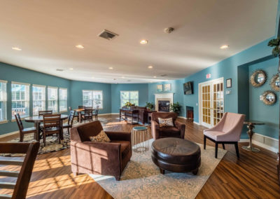 Seating areas and lovely windows in Saucon View's spacious clubhouse in Bethlehem, PA