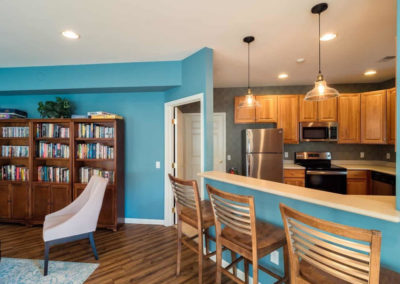 Kitchen space within Saucon View clubhouse with comfortable seating spaces in Bethlehem, PA