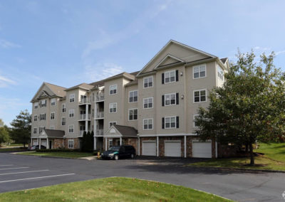 Spacious open parking spaces in front of Saucon View apartments for rent in Bethlehem