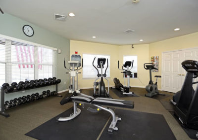 State-of-the-art fitness weights in gym exclusively for Saucon View apartment residents